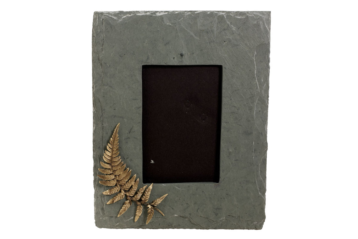 "Fern Slate Frame 4 x 6"" -  Black Slate with Green Gold Fern Motif"