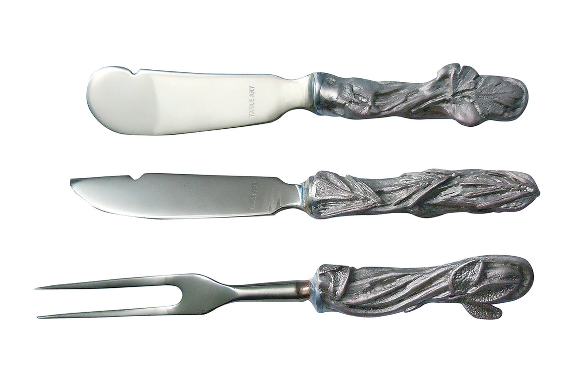 Herbs Hostess Set - Antique Pewter & Stainless Steel