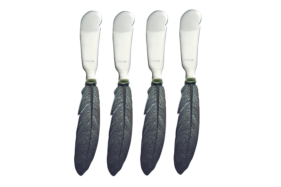 Feather Hostess Spreader Set - Antique Pewter Finish, Stainless Steel