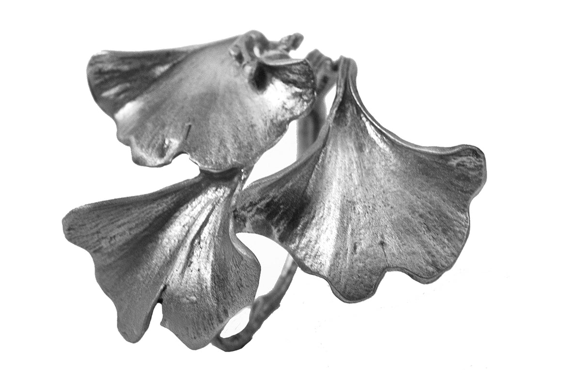 Ginkgo Napkin Rings - Antique Pewter