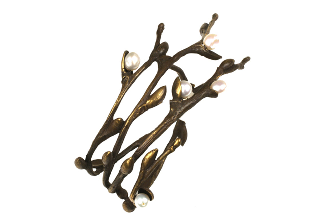 Pussy Willow Napkin Rings -  Brown Patina and White Fresh Water Pearls