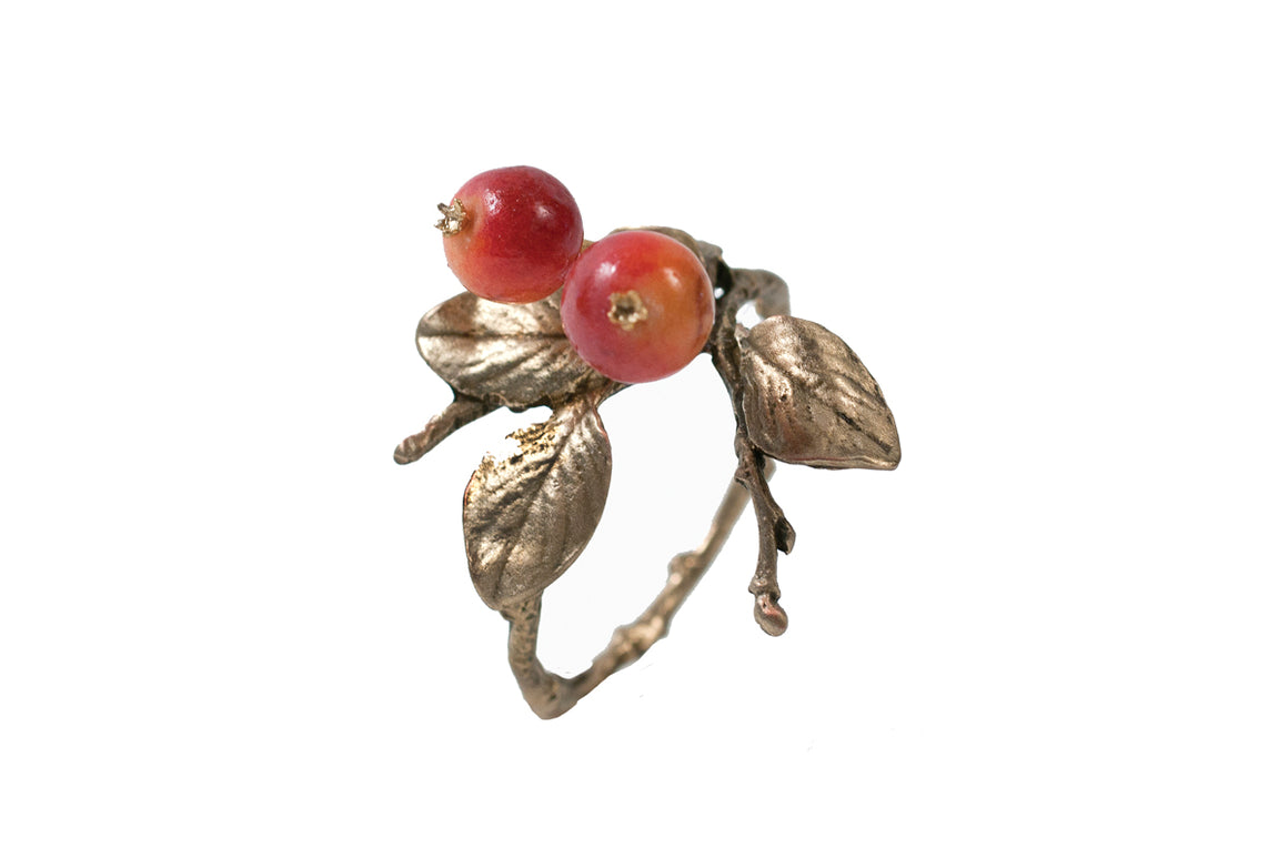 Crab Apple Napkin Rings - Gold Finish