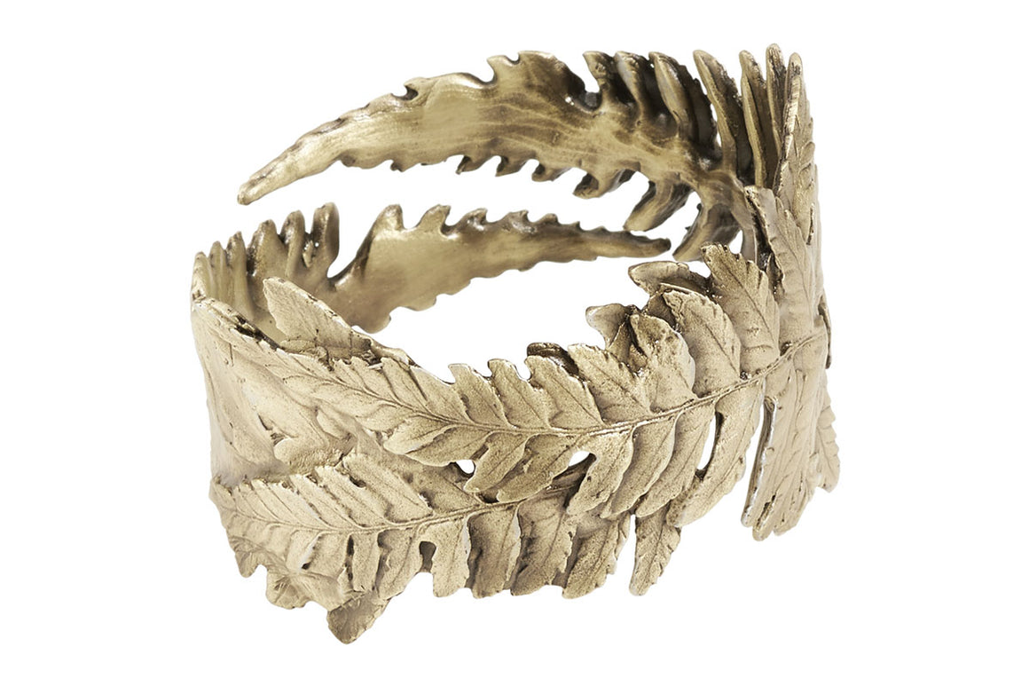 Fern Napkin Rings - Green Gold Finsih