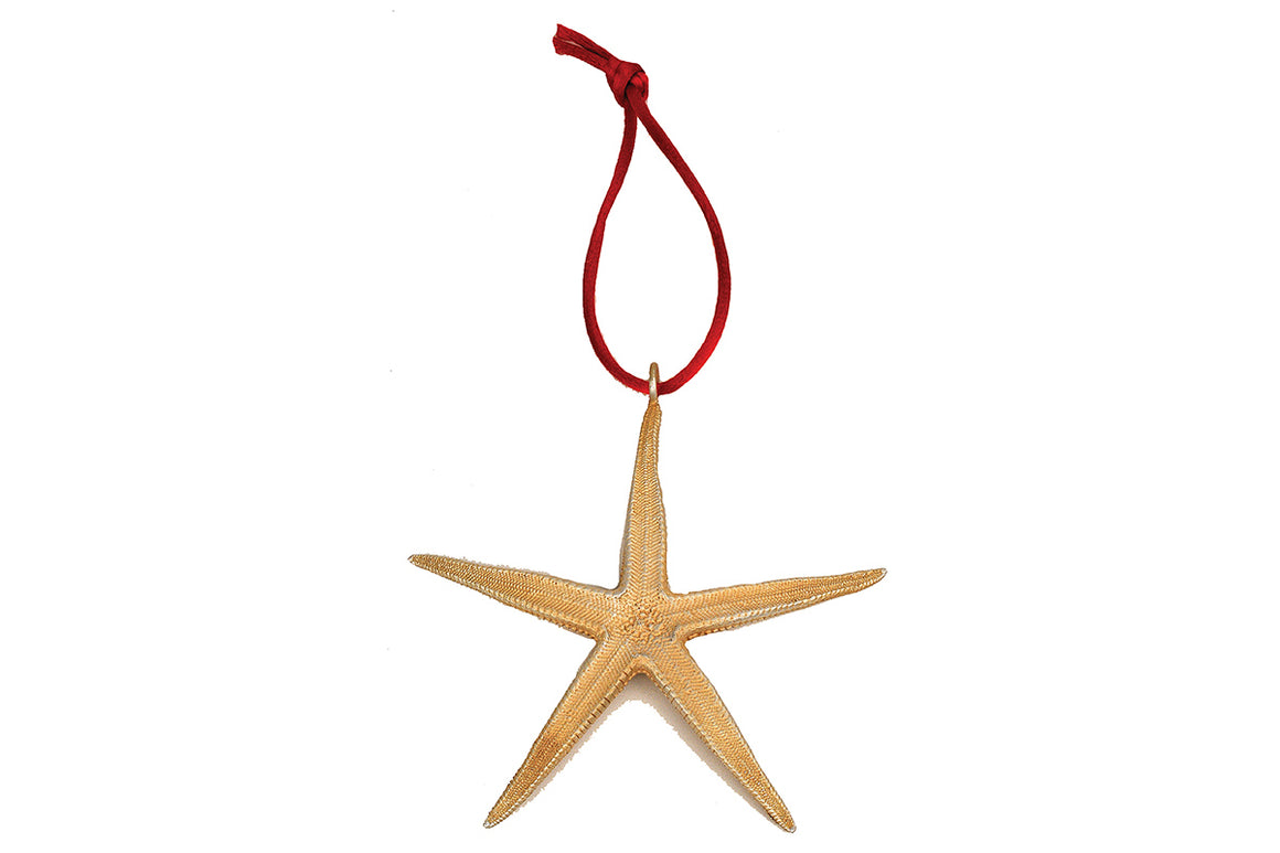Starfish Ornament - Gold over Silver Finish with Red Satin Cord
