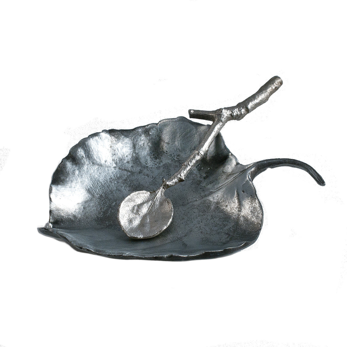 Aspen Salt Dish with Spoon - Antique Pewter