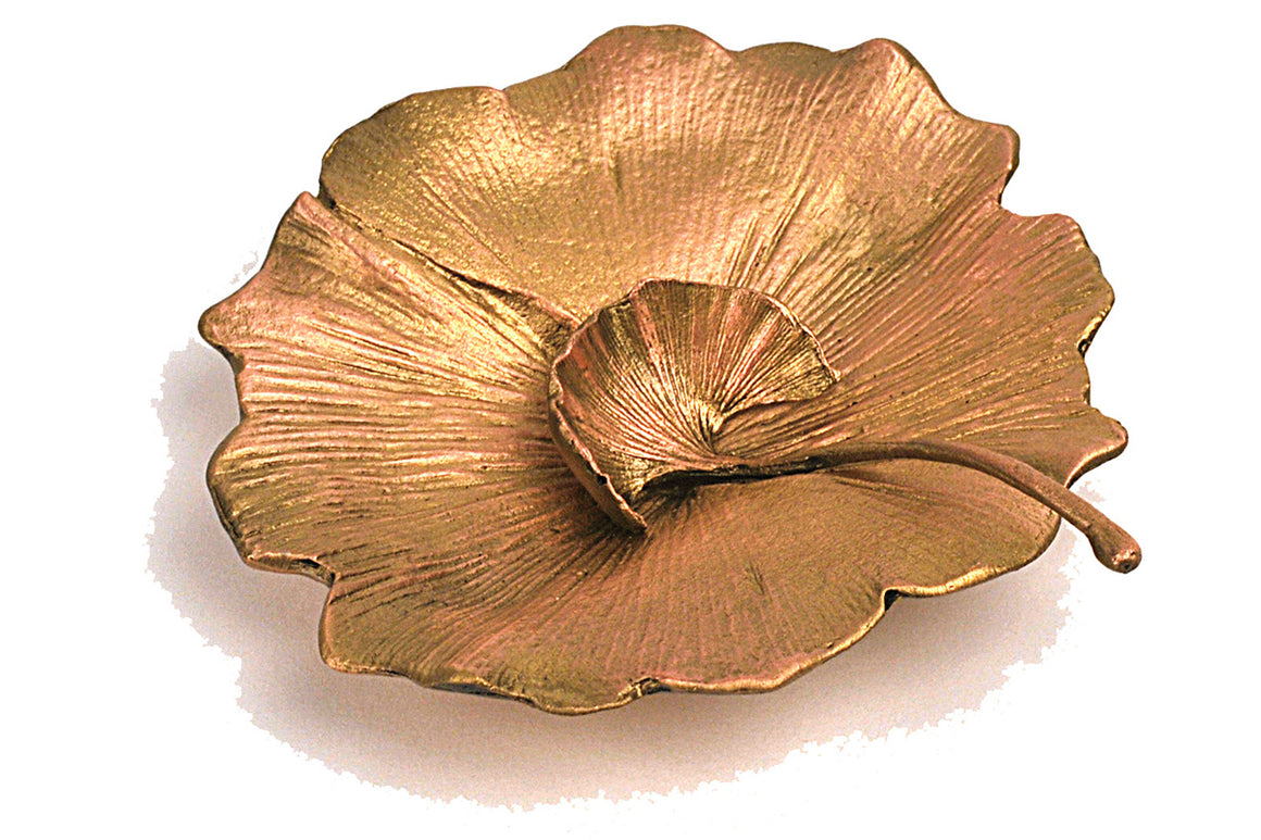 Ginkgo Salt Dish with Spoon - Gold Finish