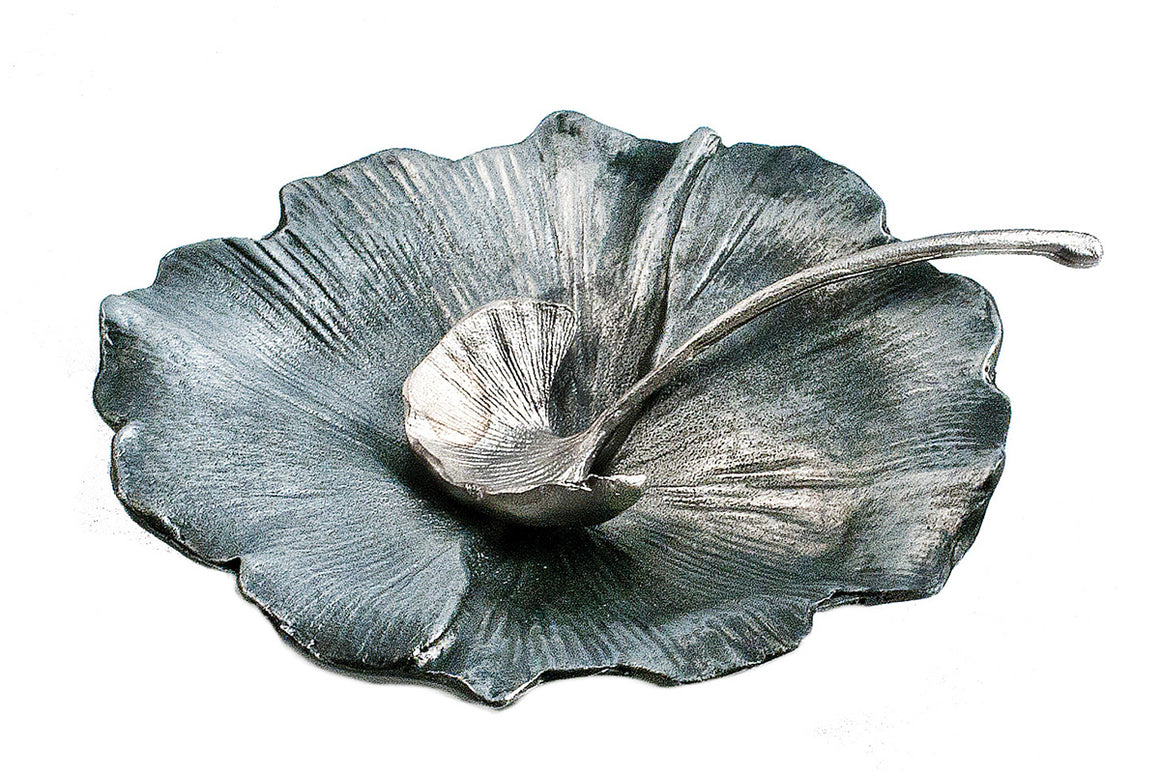 Ginkgo Salt Dish with Spoon - Antique Pewter Finish