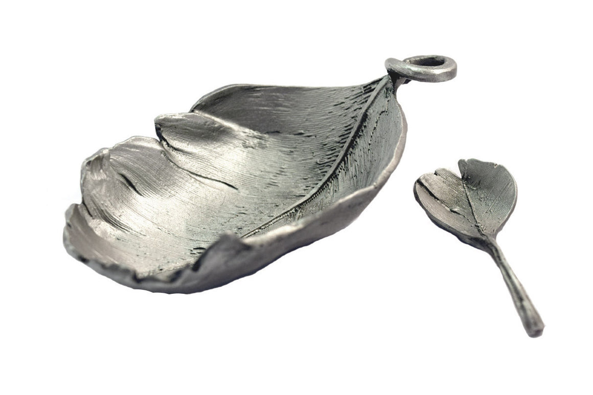Feather Salt Dish with Spoon - Antique Pewter Finish