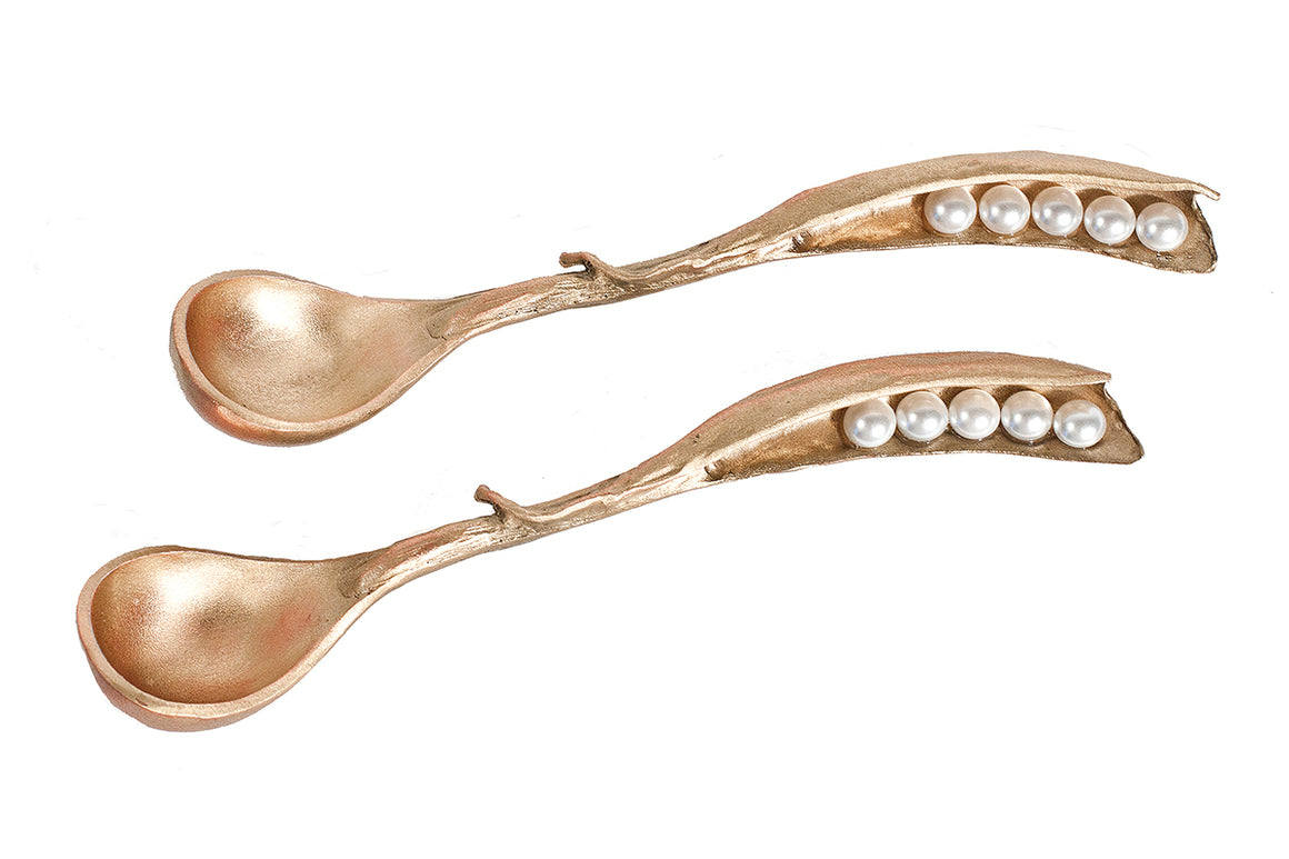 Pea Pod Spoons - Gold Finish with White Glass Pearls