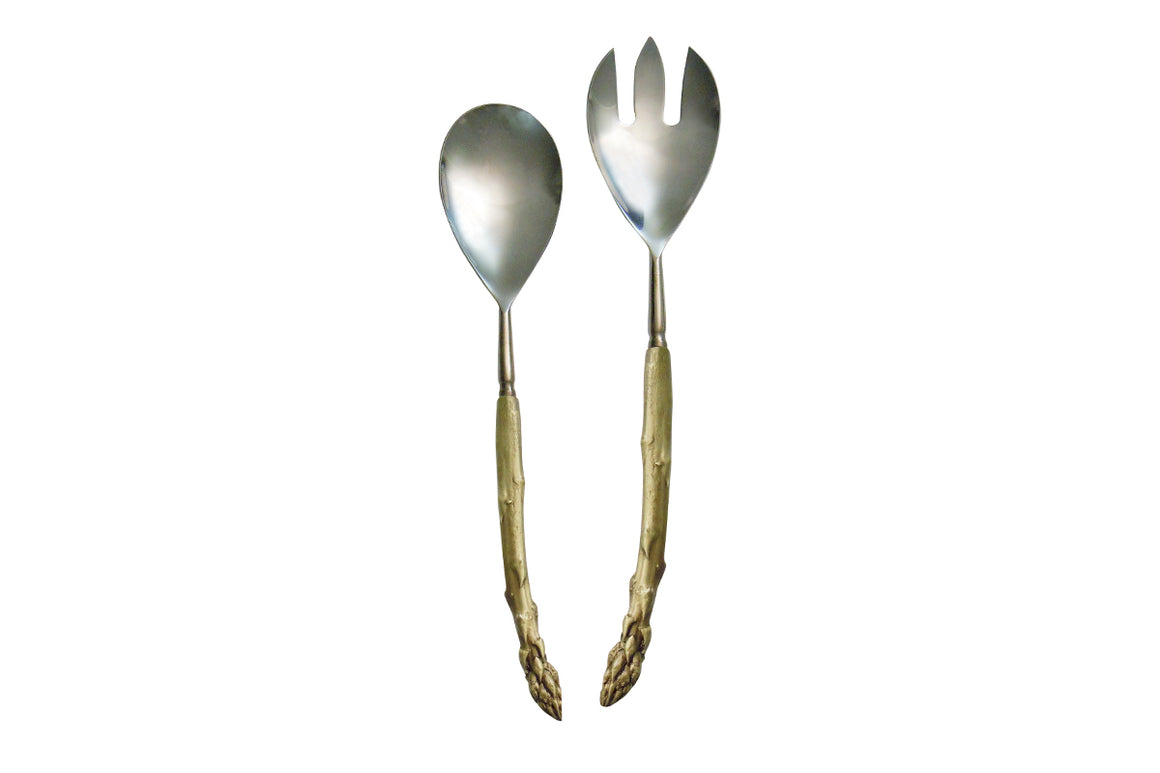Asparagus Serving Set - Green Gold Finish with Stainless Steel