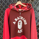 Vintage Bape College Red Camo Zip-Up Hoodie Size XL