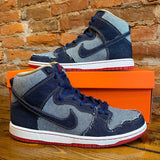 "Nike SB Dunk High Reese Forbes ""Denim"" 2014 Size 10.5"