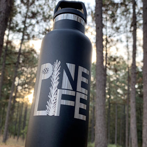20oz PINE LIFE Water Bottle - Charcoal, Stainless Steel, with Laser-etched Logo