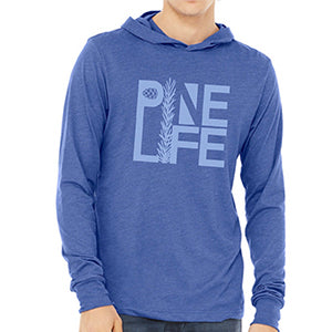 New! Unisex Long Sleeve Hooded Jersey Tee - Royal Blue