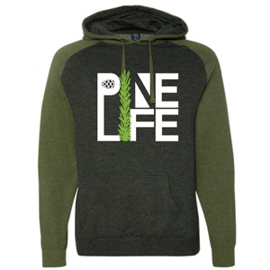 New! Pre-Order - Unisex Raglan Hooded Sweatshirt - Charcoal Heather and Army Green