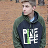 Unisex Raglan Hoodie - Charcoal Heather / Army Green
