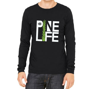 PINE LIFE Jersey Long Sleeve Unisex Tee - Black Tri-blend