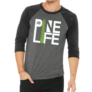 PINE LIFE 3/4 Sleeve Baseball Unisex Tee - Black/Grey