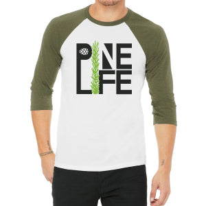 1 left! 3/4 Sleeve Baseball Tee Unisex - White & Olive