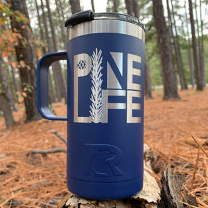 14oz PINE LIFE Travel Mug - Stainless Steel with Laser-etched Logo - Blue