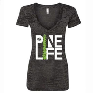 PINE LIFE - Women's Burnout V-Neck Tee, Deep Slate
