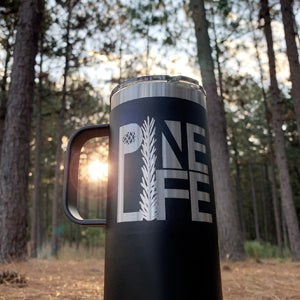 14oz PINE LIFE Travel Mug - Stainless Steel with Laser-etched Logo - Charcoal
