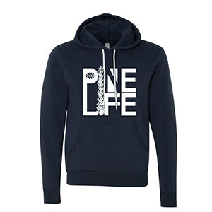 Unisex Pullover Hoodie - Navy Blue and White
