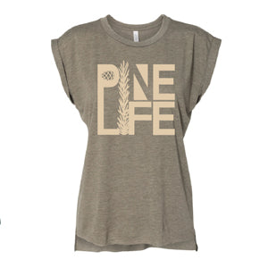 PINE LIFE Women's Flowy Muscle Tee, with Rolled Cuff, Heather Olive