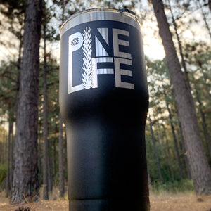 30oz Stainless Steel Tumbler - Black, with Laser-etched PINE LIFE Logo