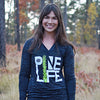 PINE LIFE - Women's Burnout Hooded Pullover, Black