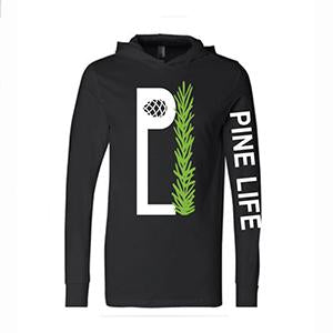 PINE LIFE - Unisex Long Sleeve Hooded Jersey Tee, Black