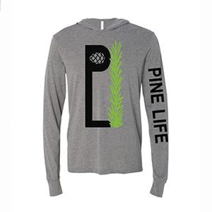 PINE LIFE - Unisex Long Sleeve Hooded Jersey Tee, Deep Heather Grey