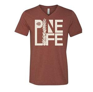 PINE LIFE V-Neck T-Shirt, Rust