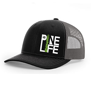 PINE LIFE Trucker Snapback Hat - Black/Charcoal Grey