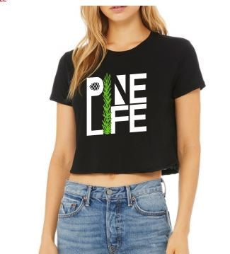 New! Women's Flowy Crop Tee - Black
