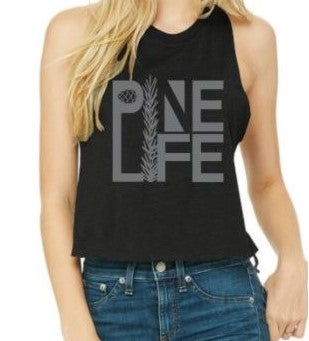 New! Women's Racerback Cropped Tank - Black