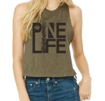 New! Women's Racerback Cropped Tank - Olive
