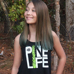 NEW! PINE LIFE Youth Flowy Racerback Tank - Black