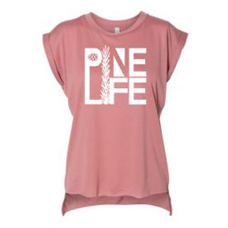 PINE LIFE Women's Flowy Muscle Tee with Rolled Cuff - Mauve