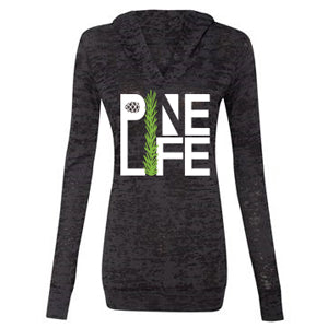 PINE LIFE - Women's Burnout Hooded Pullover, Deep Slate