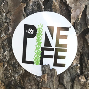 "PINE LIFE Sticker - 3"" White Round"