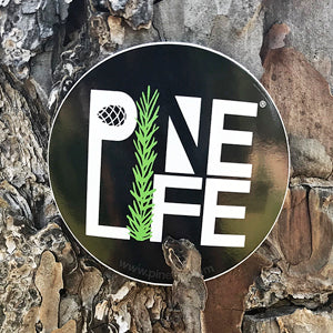 "PINE LIFE Sticker - 3"" Black Round"