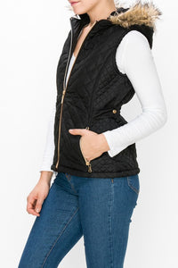 Quilted Vest with Fur Hood - Plus Size