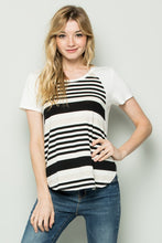 Striped panel raglan short sleeve tee