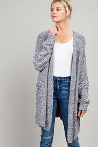Fuzzy Knit Open Front Cardigan with Pockets