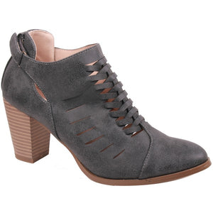 Addison Heeled Woven Perforated Booties - Charcoal