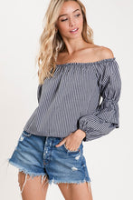 Bow knot plaid long sleeve/off the shoulder top