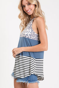 Animal Color Block Tank Top