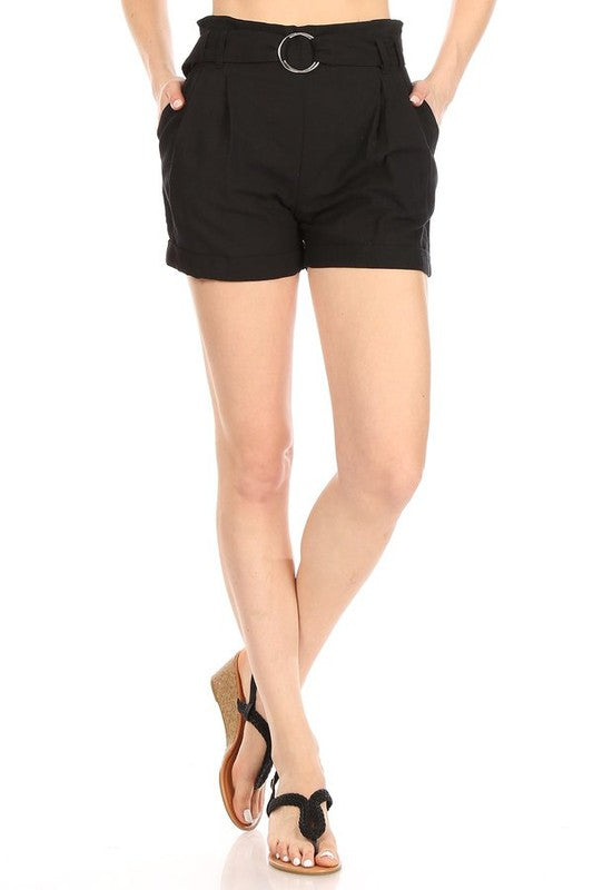Paper Bag Linen Blend Shorts