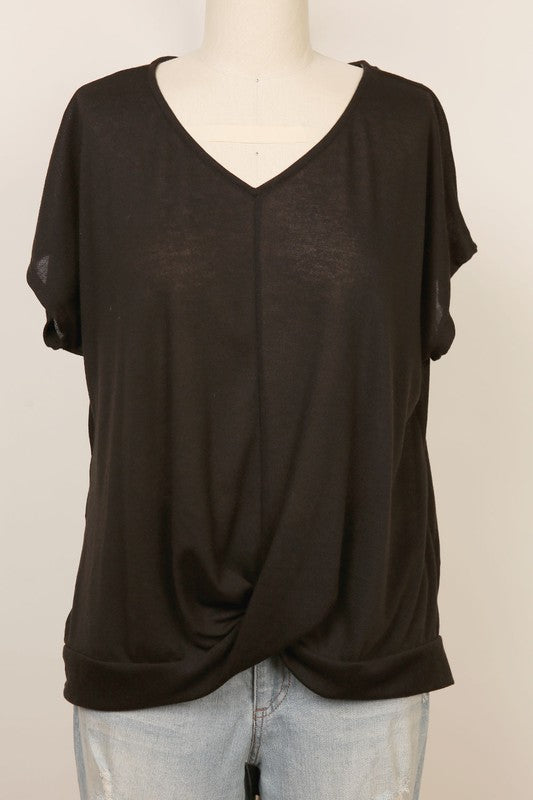 Short sleeve twist front dolman top